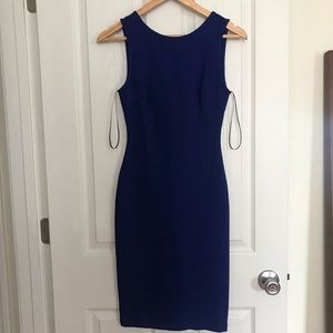 Backless blue bodycon dress
